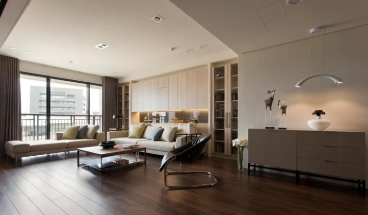 muebles de salón colores claros sofas grande blanca ideas