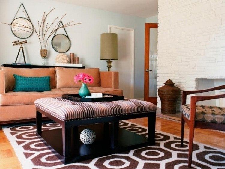 muebles de salón colores espejos redondos colgando pared ideas