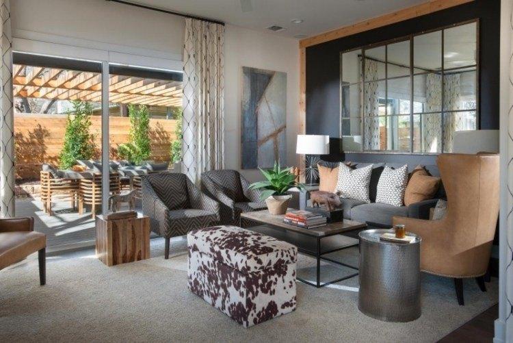 muebles de salón colores gris azul combinacion espejos pared ideas