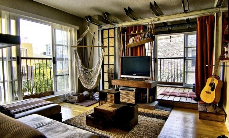 muebles de salón colores hamaca mesa original ideas
