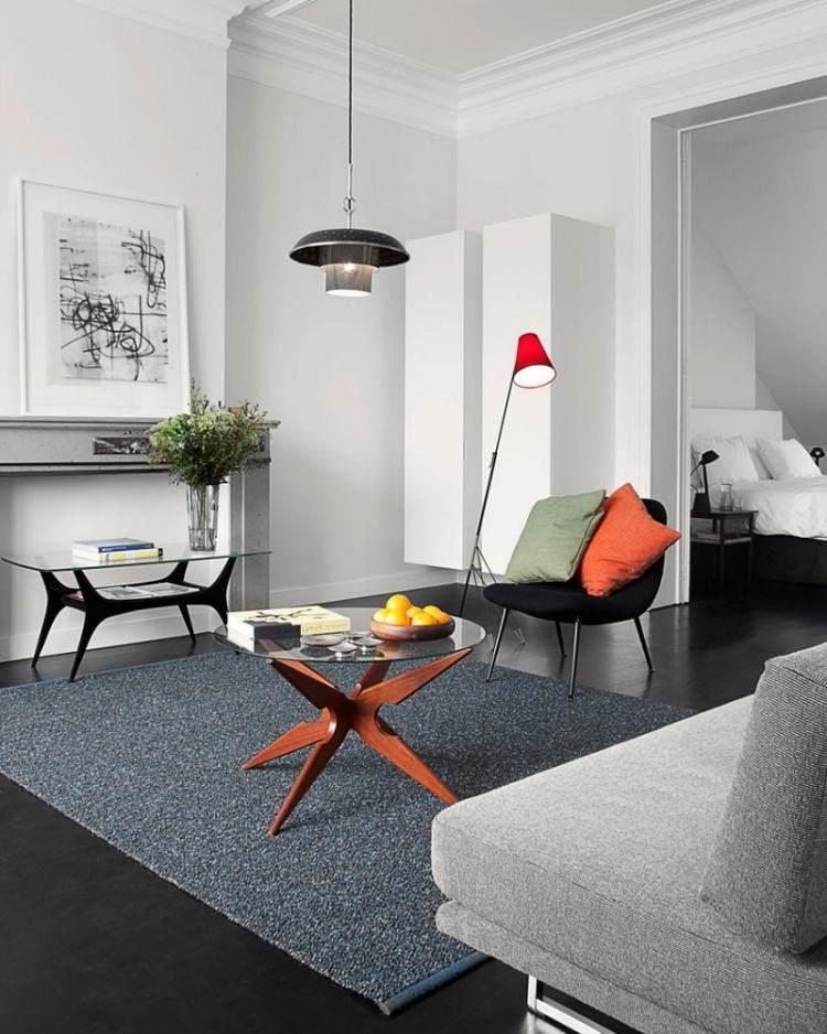 muebles de salón colores mesa cristal sofa gris ideas