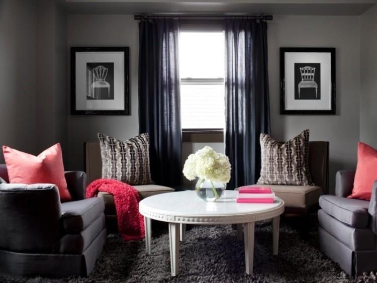 muebles de salón colores oscuros azul mesa madera blanca ideas