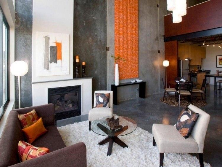 muebles de salón colores pared gris toque naranja cortina ideas