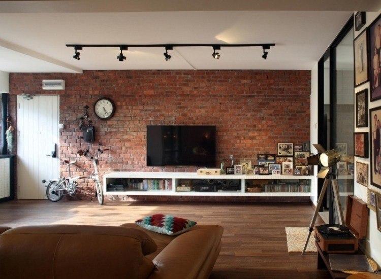 muebles de salón colores pared ladrillo televisor ultima generacion ideas