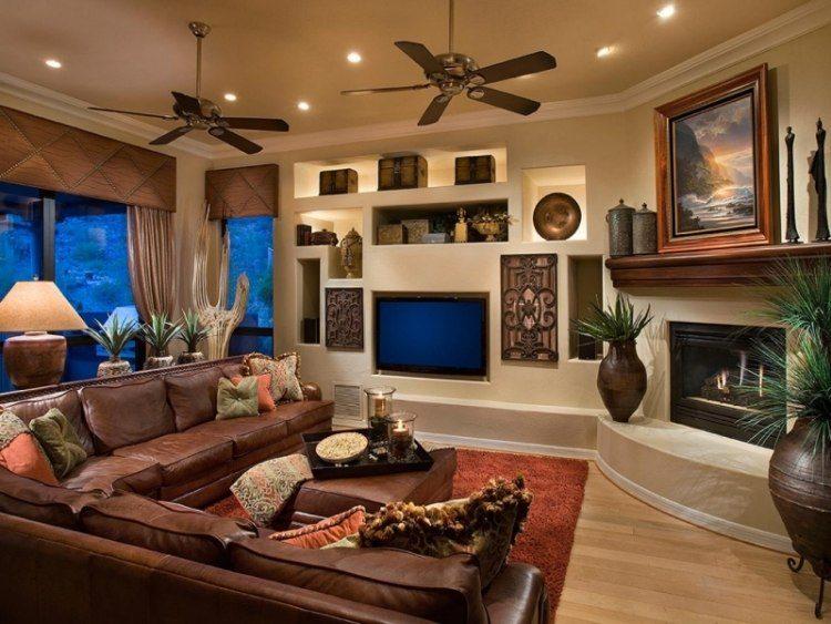 muebles de salón colores sofa cuero marron ideas