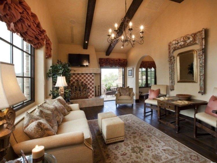 muebles de salón colores sofa taburetes lampara colgando techo ideas