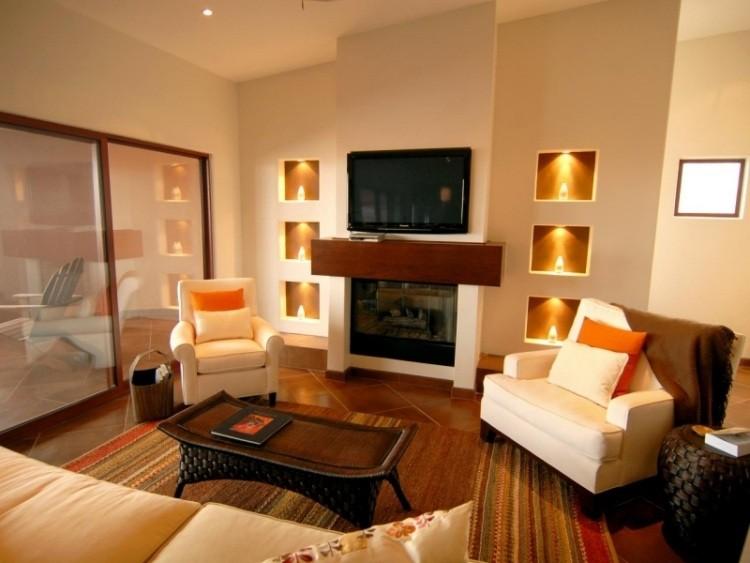 muebles de salón colores sofas blancas iluminacion LED pared ideas