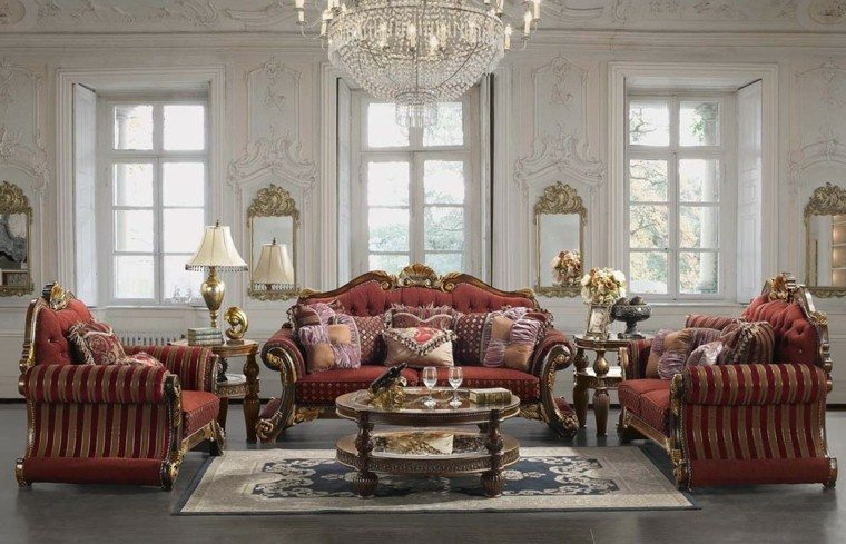 muebles de salón estilo victoriano amplio lampara cristal ideas