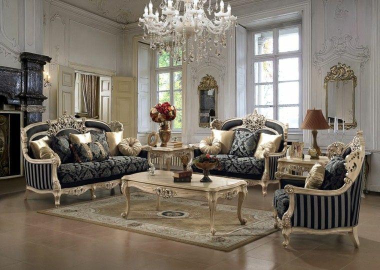 muebles de salón estilo victoriano color negro oro ideas