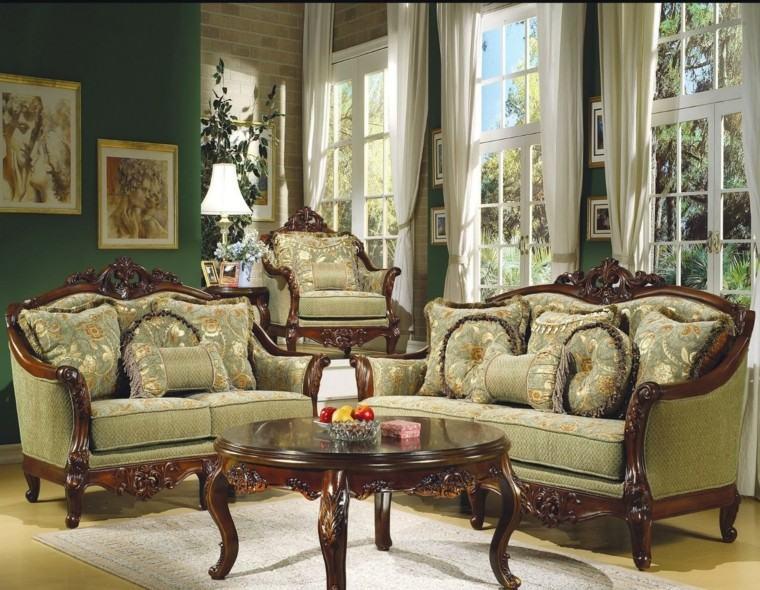 muebles de salón estilo victoriano color verde sofas ideas
