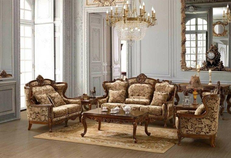 muebles de salón estilo victoriano espejo grande ideas