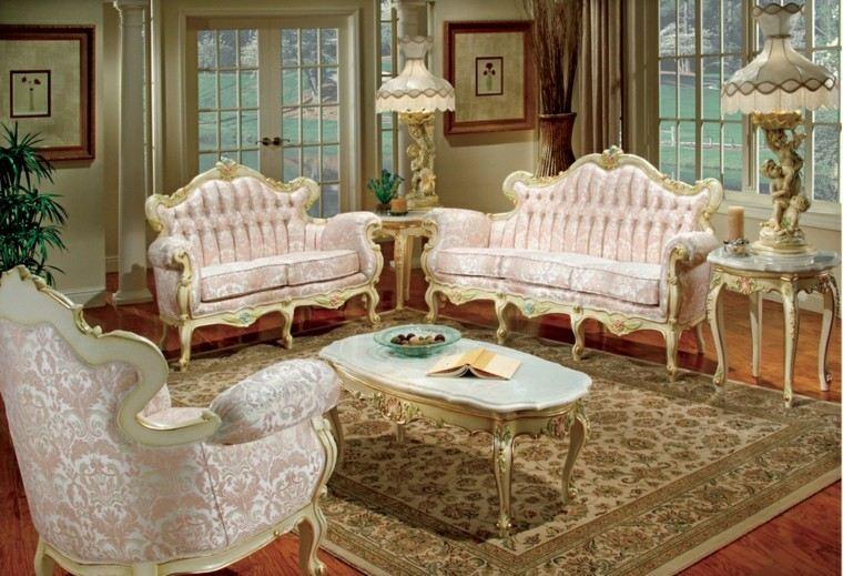 muebles de salón estilo victoriano madera color blanco oro ideas