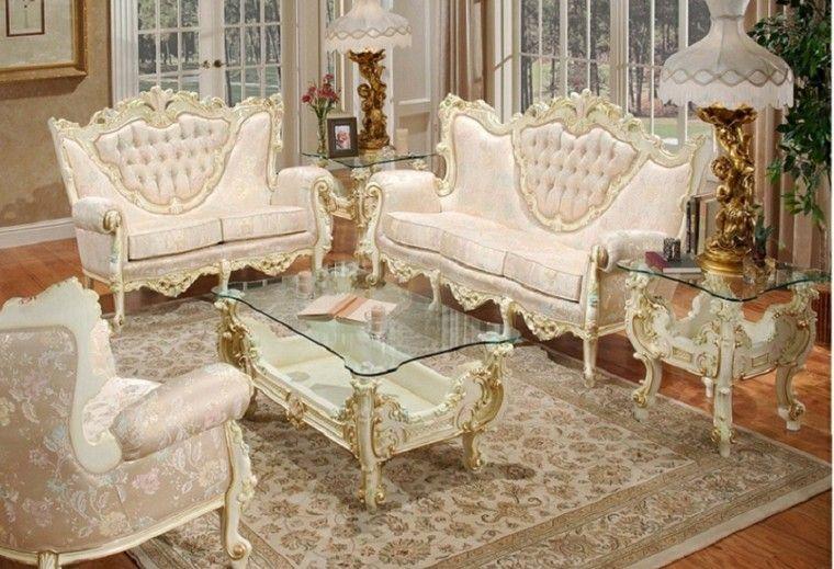 muebles de salón estilo victoriano mesa encimera cristal ideas