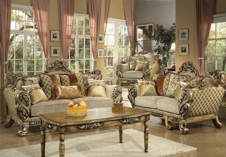 muebles de salón estilo victoriano mesa madera ideas