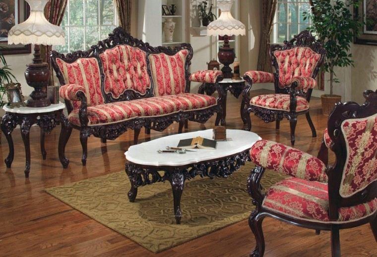 muebles de salón estilo victoriano sofas acabados madera ideas