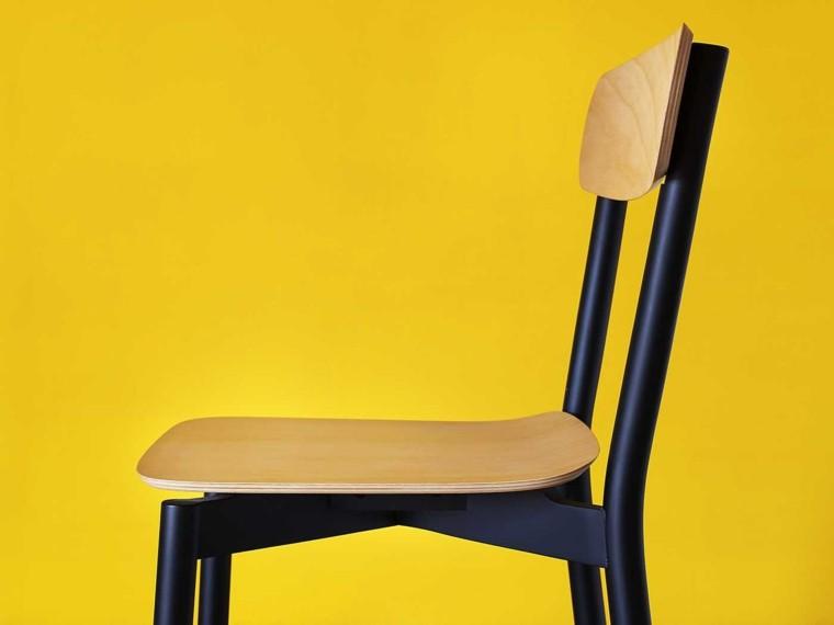 muebles diseño silla negra madera ideas