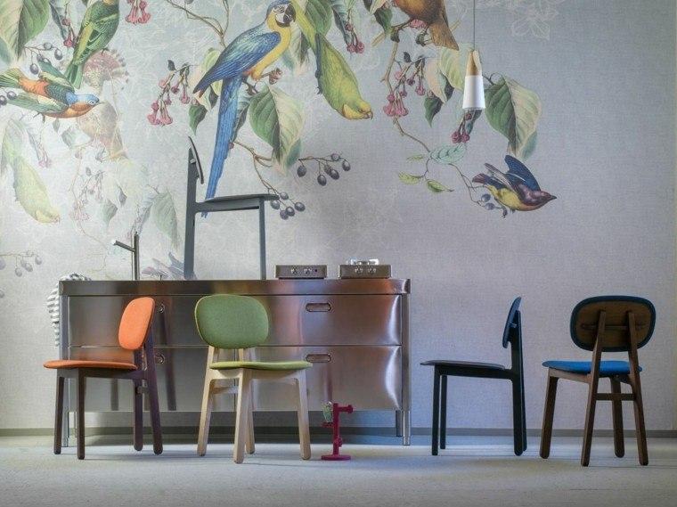 muebles diseño sillas distintos colores llamativos ideas