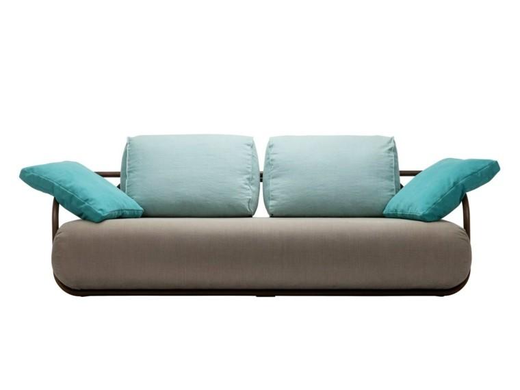 muebles diseño sofa preciosa cojines color azul ideas