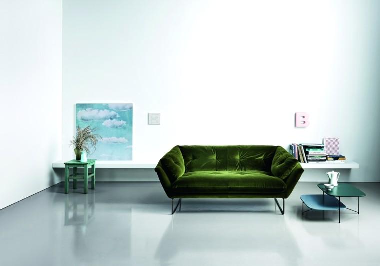 muebles diseno sofa terciopelo verde moderna ideas