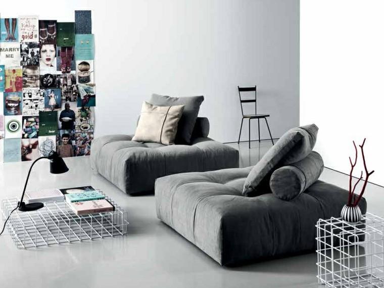 muebles diseño taburetes grandes cojines respaldarse ideas