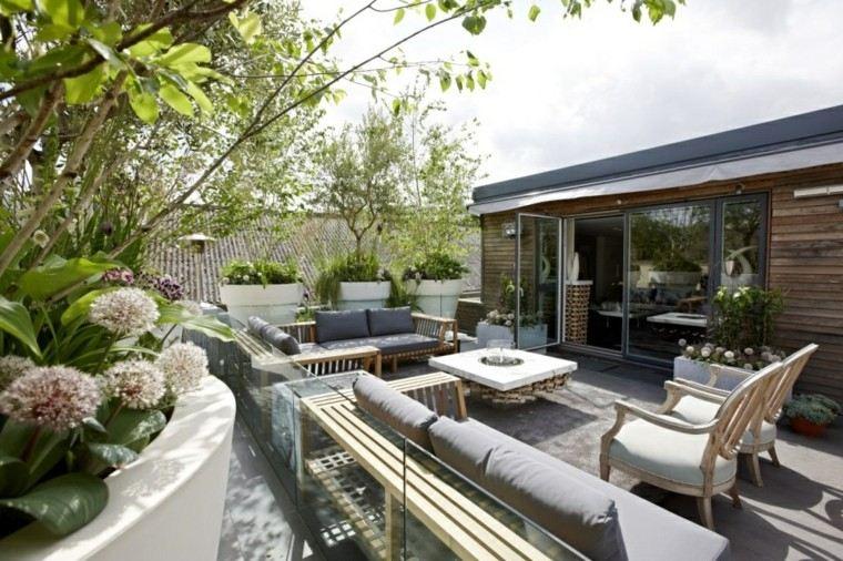muebles exterior flores madera terraza