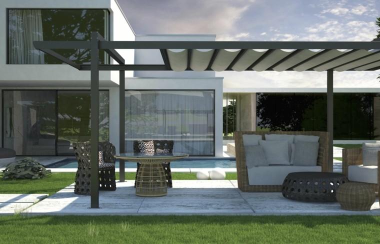 outdoor furniture pergola ratan curtains