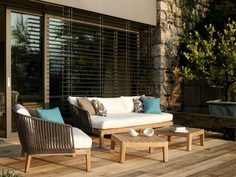 muebles jardin madera tela respaldos ideas modernas