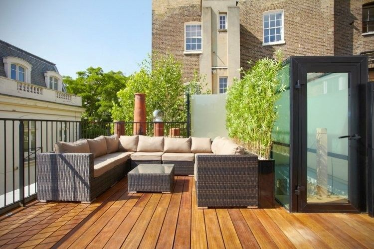 muebles mimbre plantas bambu terraza