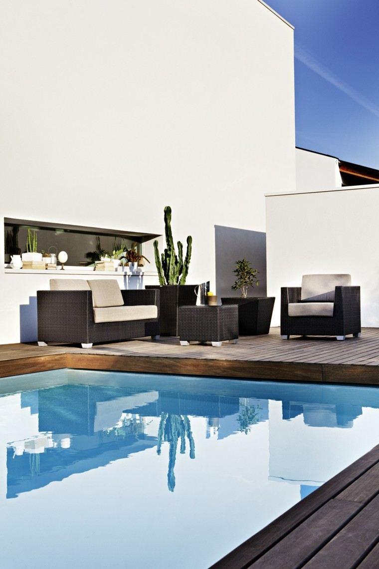 muebles rattan jardin piscina maceta grande ideas
