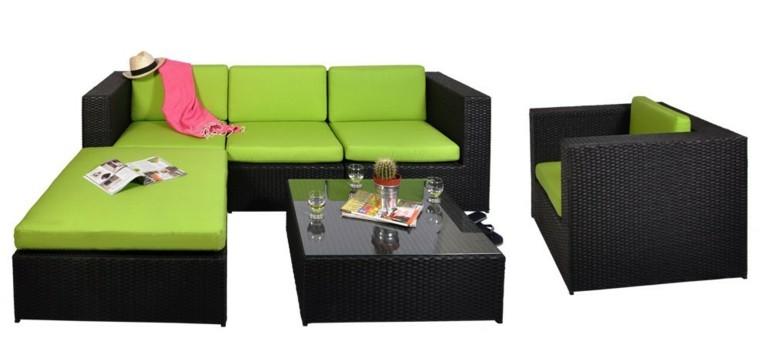 muebles rattan negros cojines verdes