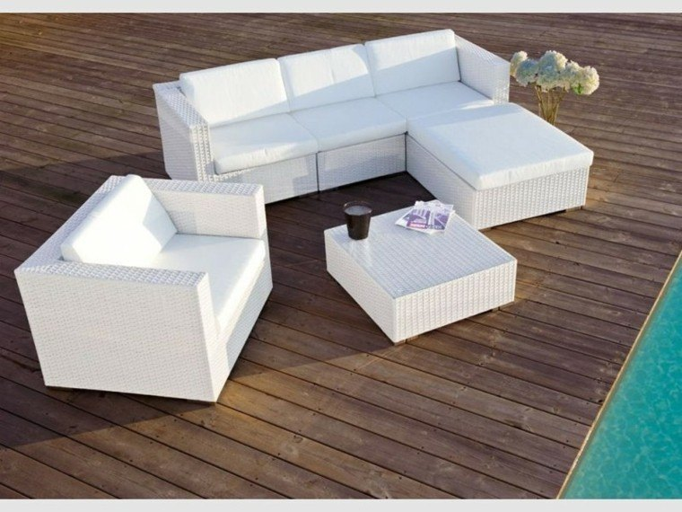 muebles jardín rattan color blanco