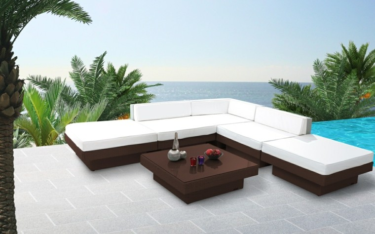 muebles rattan color marron terraza