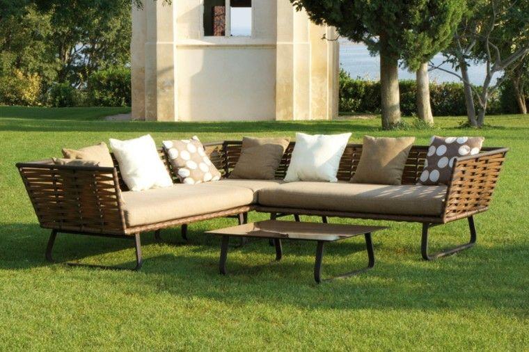muebles rattan diseño moderno jardin