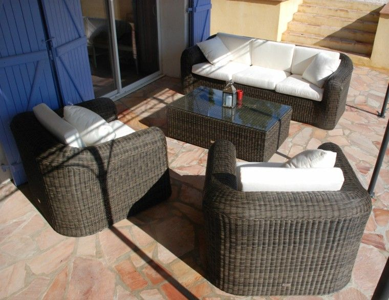 muebles rattan patio terraza marron