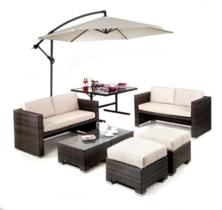 muebles rattan sombrilla integrada parasol
