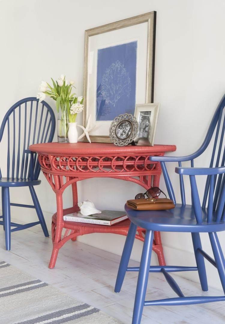 muebles recibidores color rojo azul
