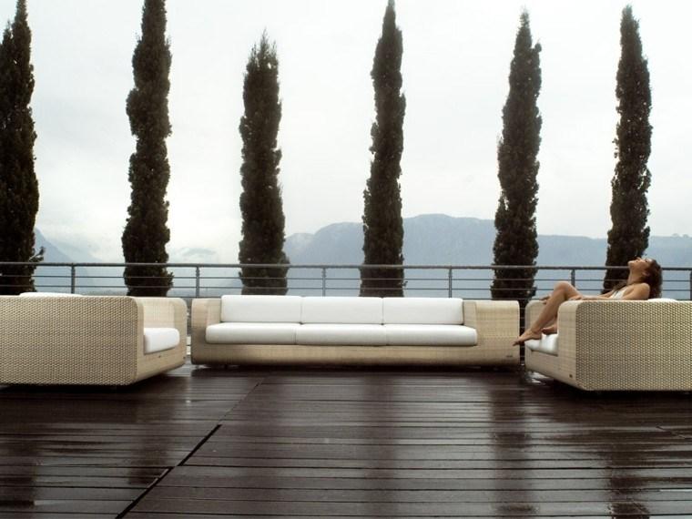 muebles terraza ratán color beige