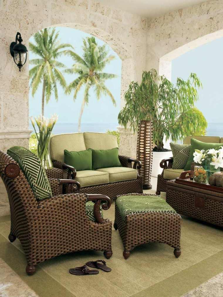 muebles rattan marron y verde