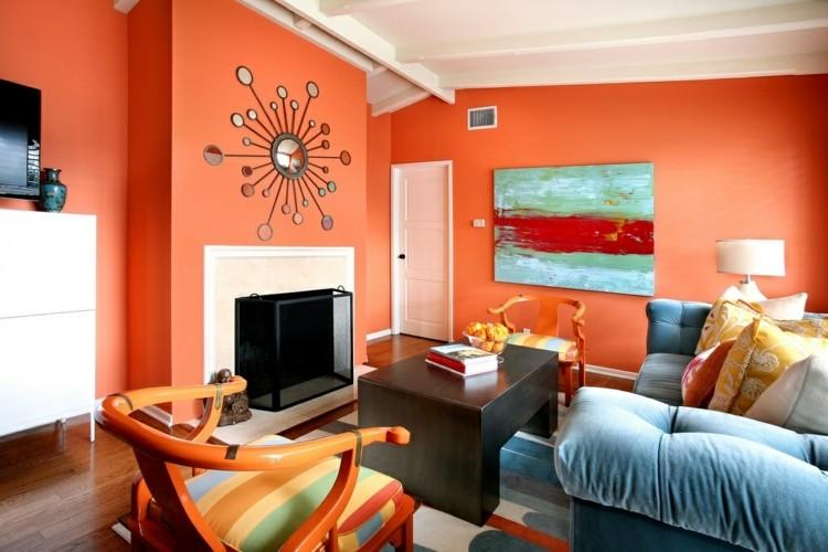 naranja acento silla muebles salon