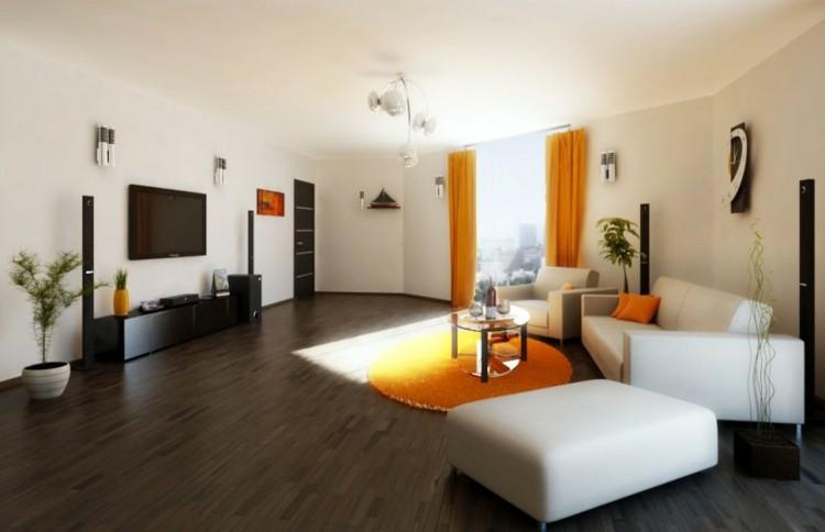 naranja salon madera suelo textiles
