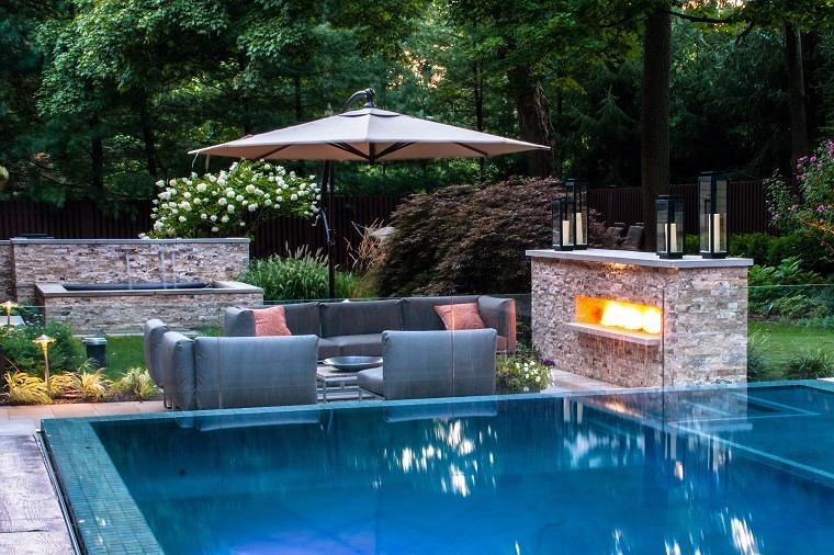 natural stones wall water bonfire