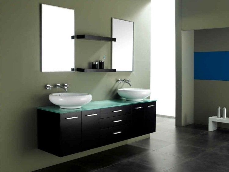 mueble negro cristal dos lavabos