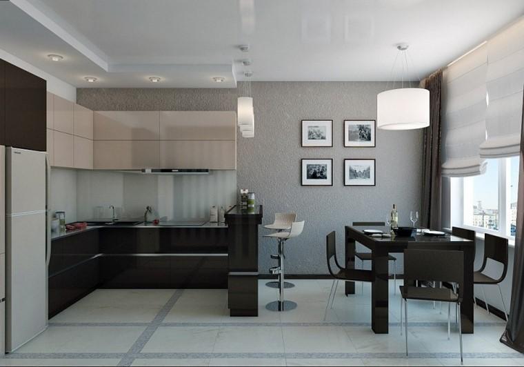 negro gris armarios cocina mesa negra comedor moderno