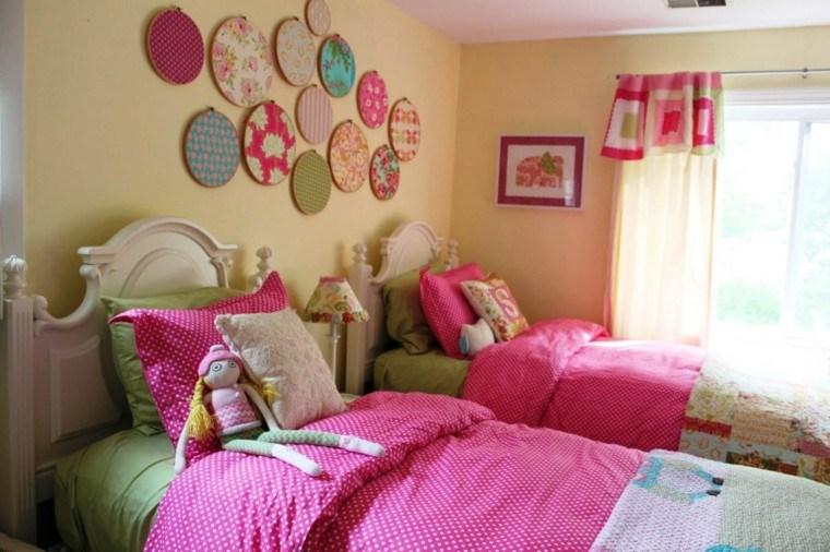 niña rosa habitacion pared tela