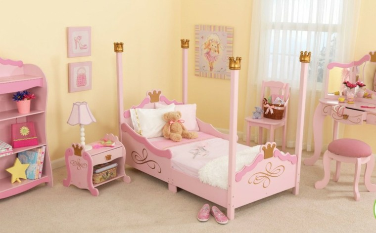 nias muebles madera color rosa habitacion ideas - Muebles Nina
