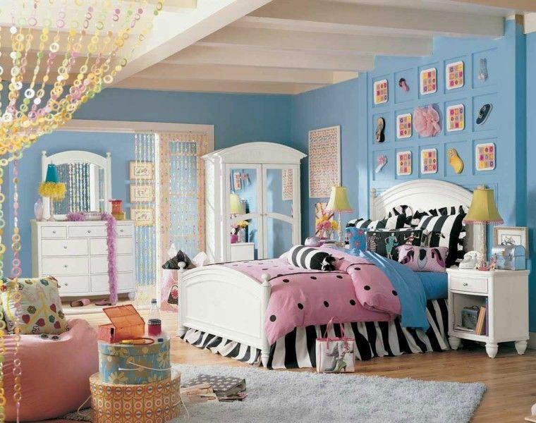niñas habitacion azul rosa cama madera blanca ideas