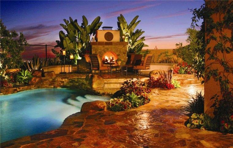 night rocks design decoration palm trees