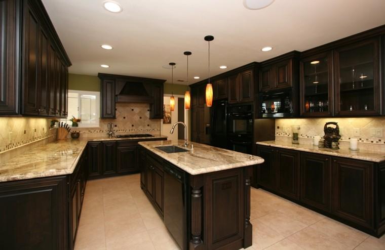 oscuro cabinetes tradicional diseño marmol