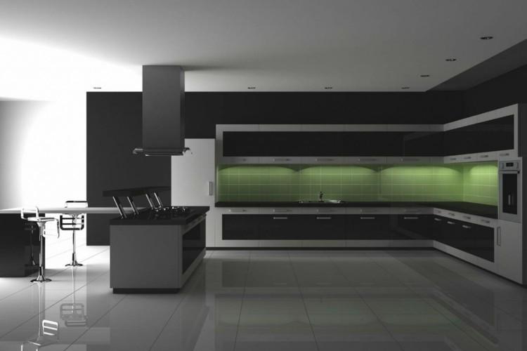 oscuro cabinetes verde luz taburetes