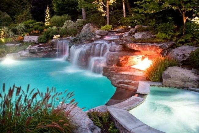 paisaje piscina jardin cascadas agua